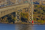 Little Red River Art - Red Lighthouse And Great Gray Bridge by Susan Candelario
