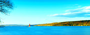 Ithaca Posters - Red Lighthouse In Cayuga Lake New York Panoramic Photography Poster by Paul Ge