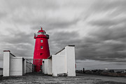 Creme Framed Prints - Red Lighthouse Framed Print by Semmick Photo