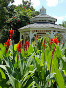 Gazebo Wall Art Posters - Red Lily Gazebo Garden Poster by Sheri McLeroy