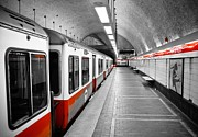 Urban Photograph Framed Prints - Red Line Framed Print by Charles Dobbs
