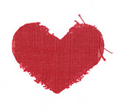 Holiday Tapestries - Textiles - Red Linen Heart by Yana Vergasova