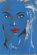 Glamor Paintings - Red Lips by P J Lewis