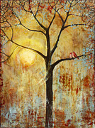 Warm Metal Prints - Red Love Birds in a Tree Metal Print by Blenda Studio