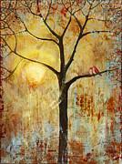 Red Love Birds In A Tree Print by Blenda Studio