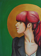 Red Hair Drawings Prints - Red Print by Lucy Stephens