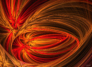 Intense Colors Prints - Red Luminescence-Fractal Art Print by Lourry Legarde