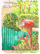 Mail Box Painting Framed Prints - Red-mail-box-in-Beverly-Hills-CA Framed Print by Carlos G Groppa