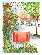 Post Cards Painting Originals - Red mail box in Calabazas - California by Carlos G Groppa