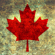 Canadian Digital Art Posters - Red Maple Leaf single Poster by Bruce Stanfield