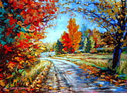 Abandoned Houses Painting Posters - Red Maples Autumn Landscape Road Through Quebec Poster by Carole Spandau