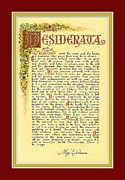 Message Art Art - Red Matted Florentine DESIDERATA Poster by Claudette Armstrong
