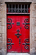 Old Stone House Photos - Red medieval door by Elena Elisseeva