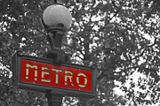 Black And White Paris Posters - Red Metro Poster by Georgia Fowler