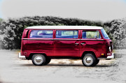 Kombi Posters - Red Microbus Poster by Bill Cannon