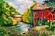 Old Mills Paintings - Red Mill at Waupaca by Marilyn Smith