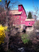 Grist Mill Posters - Red Mill in Early Spring Poster by George Oze