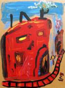 Expressionist Drawings - Red Mills with Red Rail Line by Mary Carol Williams