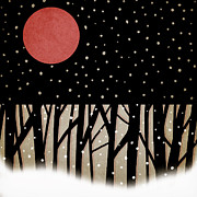 Snowy Night Night Digital Art Prints - Red Moon and Snow Print by Carol Leigh