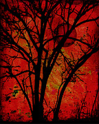 Tree Art Print Mixed Media - Red Moon by Ann Powell