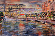 Red Moon Over Berlin Print by Alfred Motzer