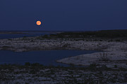 Del Rio Tx Prints - Red Moon Rising Print by Amber Kresge