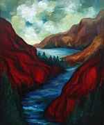Crater Lake Paintings - Red Mountains II by Larry Martin