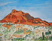 Desert Drawings Prints - Red Mt Print by Marcia Weller-Wenbert