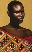African American Paintings - Red Muse by Carla Nickerson