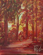 Pathways Painting Originals - Red by Nancy Herren-Jernigan