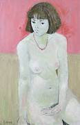 Nudes Paintings - Red Necklace by Endre Roder