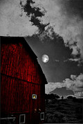 Old Barns Metal Prints - Red Night Metal Print by Emily Stauring