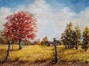 Old Fence Posts Painting Prints - Red Oak Print by Virginia Potter