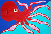 Red Octopus Print by Matthew Brzostoski