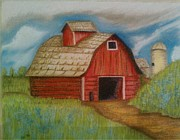 House Pastels - Red Old Barn by Edgardo Rodriguez