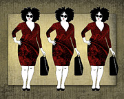 Apparel Digital Art Prints - Red Olive Plus Size Women Shopping Print by Janet Carlson