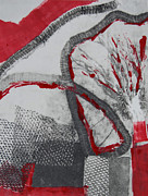 Printmaking Prints - Red on Black Print by Alexandra Jordankova