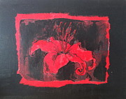 Abstract Realism Paintings - Red on Black by Megan Zilm