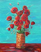 Formal Flower Paintings - Red on my Table  by Eloise Schneider