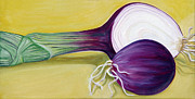 Onion Paintings - Red Onion by Laura Dozor