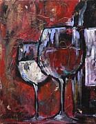 Wine Glasses Paintings - Red or White by Catalina Rankin
