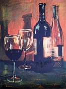 Wine Glasses Paintings - Red or White by Tami Farina