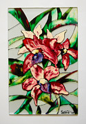 Floral Glass Art Metal Prints - Red Orchids Metal Print by Sophia Rodionov