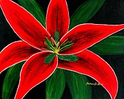Flower Center Paintings - Red Oriental Lily by Barbara Griffin