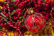 Ribbon Posters - Red ornament and berries Poster by Garry Gay