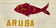 Drawn Prints - Red Painted Fish of Aruba Print by David Letts