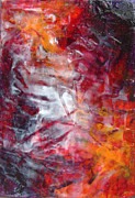 Warm Colors Paintings - Red Painting Red Abstract Red Orange Contemporary  by Belinda Capol