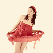 Brunette Prints - Red Paper Dress Print by Igor Kislev