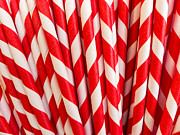 Red Art Photo Prints - Red Paper Straws Print by Edward Fielding