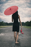 Bare Feet Photos - Red Parasol by Joana Kruse